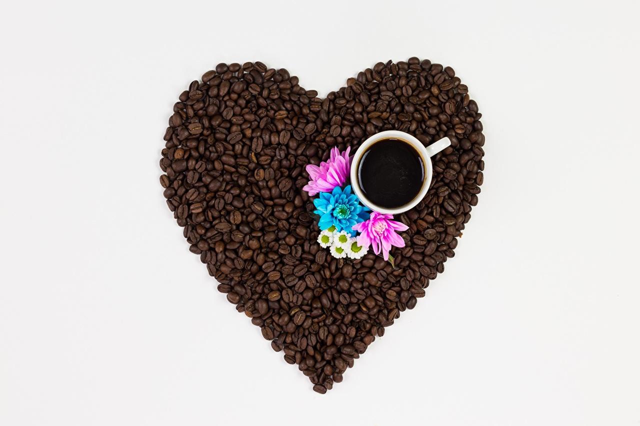 Картинки сердечко Кофе зерно Еда чашке серце сердца Сердце Зерна Пища Чашка Продукты питания
