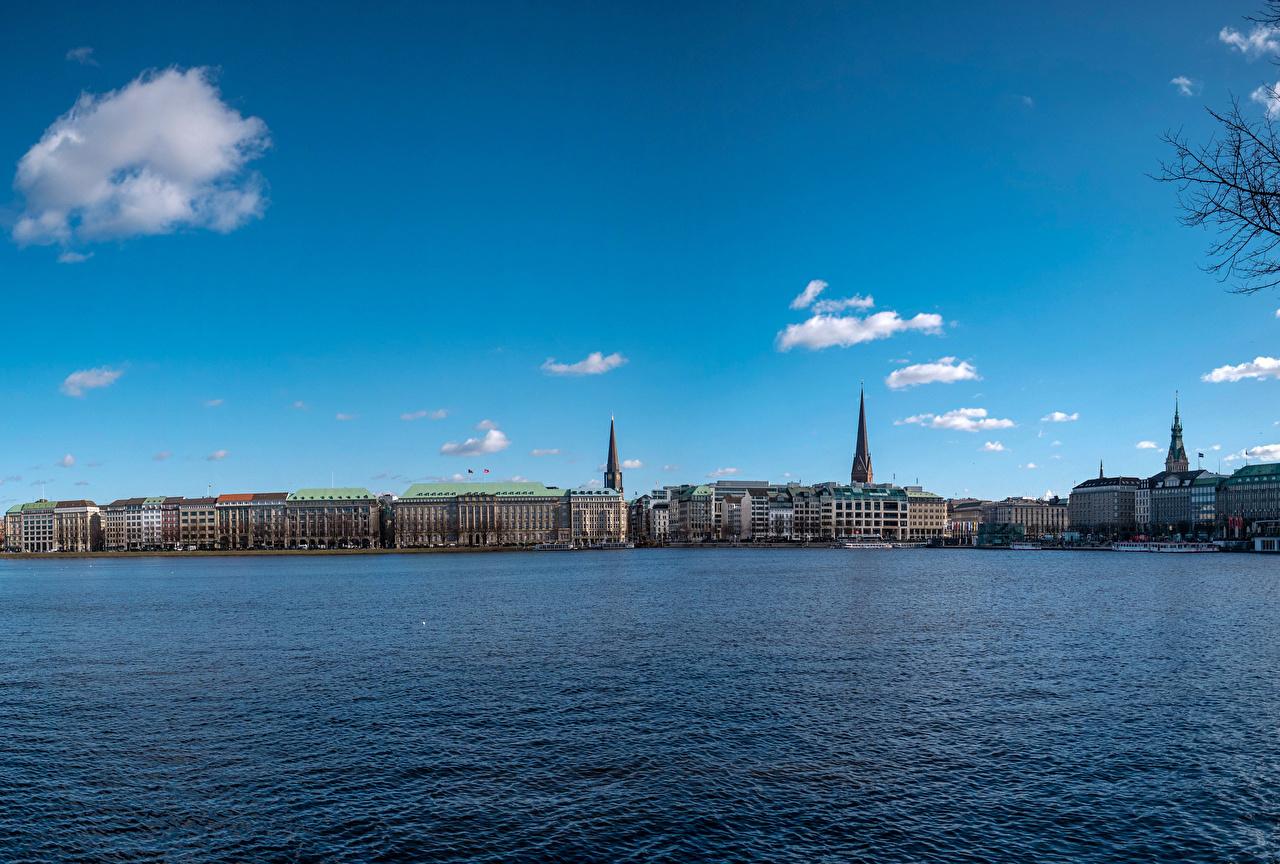 Фото Гамбург Германия Небо речка Города Здания Реки Дома