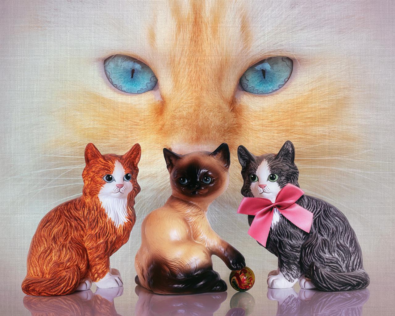 Картинки кот Глаза Бантик животное скульптура коты кошка Кошки бант бантики Животные Скульптуры