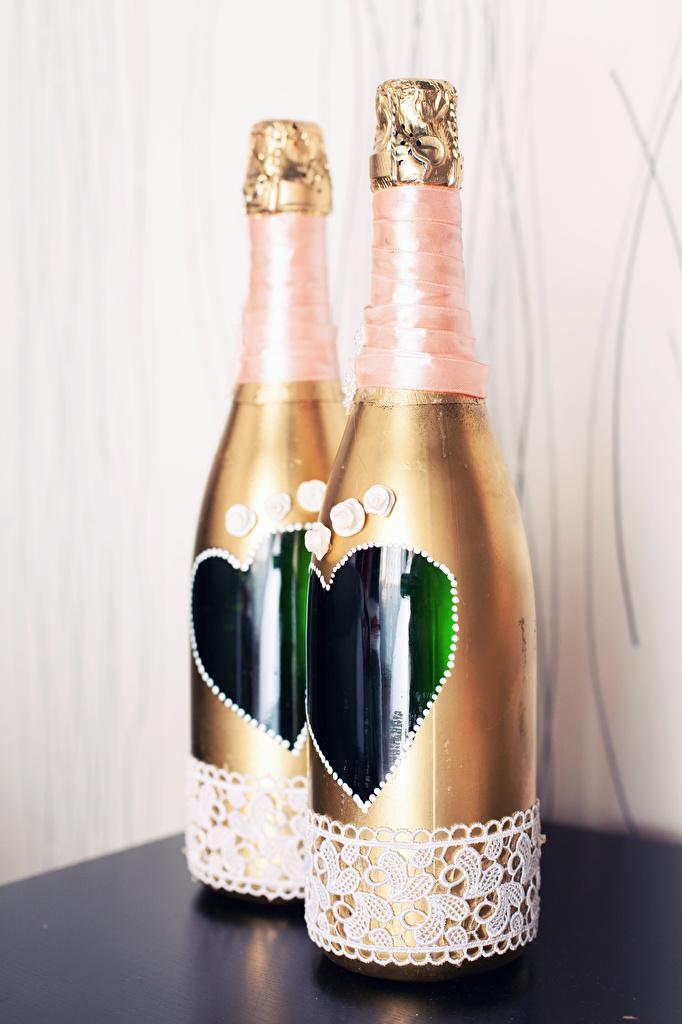 Фотография брак сердца Двое Игристое вино Еда Бутылка Свадьба свадьбы свадьбе свадебные серце Сердце сердечко 2 две два вдвоем Шампанское Пища бутылки Продукты питания