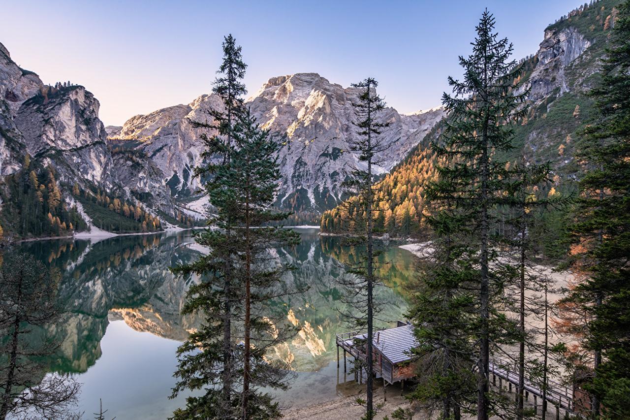 Фотография альп Италия South Tyrol, Dolomites Горы Природа Озеро Деревья Альпы гора дерево дерева деревьев