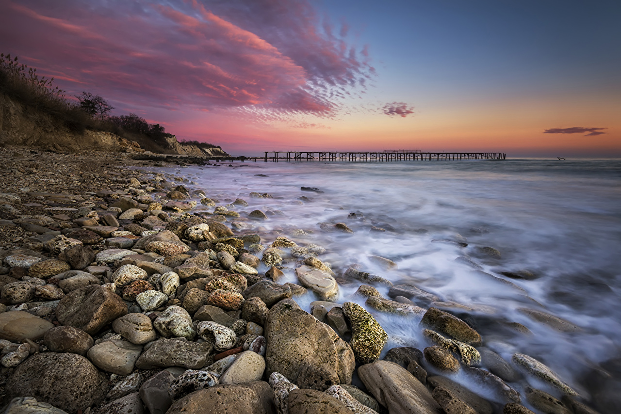Фото Природа Волны Рассветы и закаты Камни Побережье берег Камень