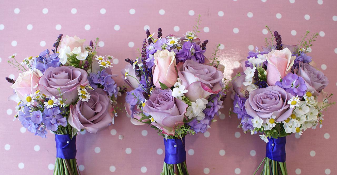 Фото букет Розы Цветы ромашка Гортензия Трое 3 Букеты роза цветок Ромашки три втроем