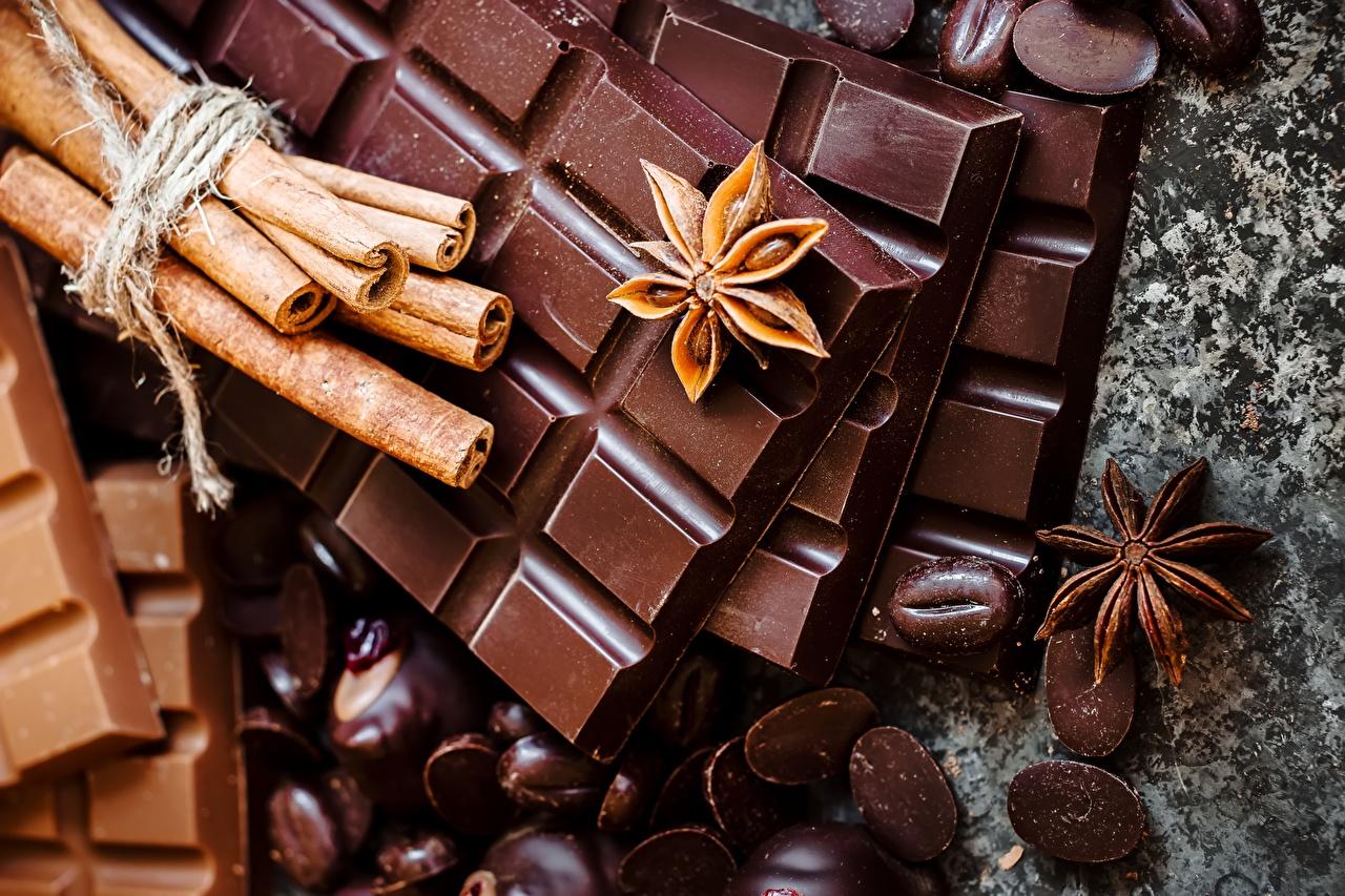 Обои Шоколадная плитка Шоколад Бадьян звезда аниса Корица Еда шоколадка Пища Продукты питания