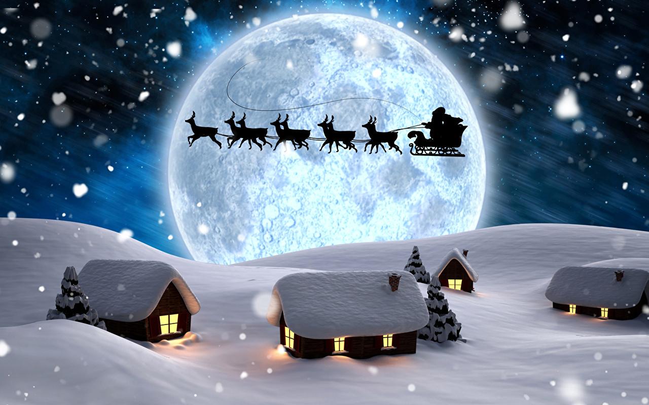 Картинка Олени Санки Силуэт зимние Санта-Клаус Снег Луна Ночные Дома Сани Зима Дед Мороз Ночь Здания