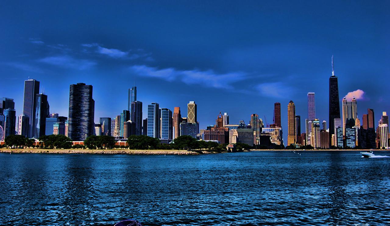 Фотографии Чикаго город штаты Illinois Побережье Небоскребы Дома город США америка берег Здания Города