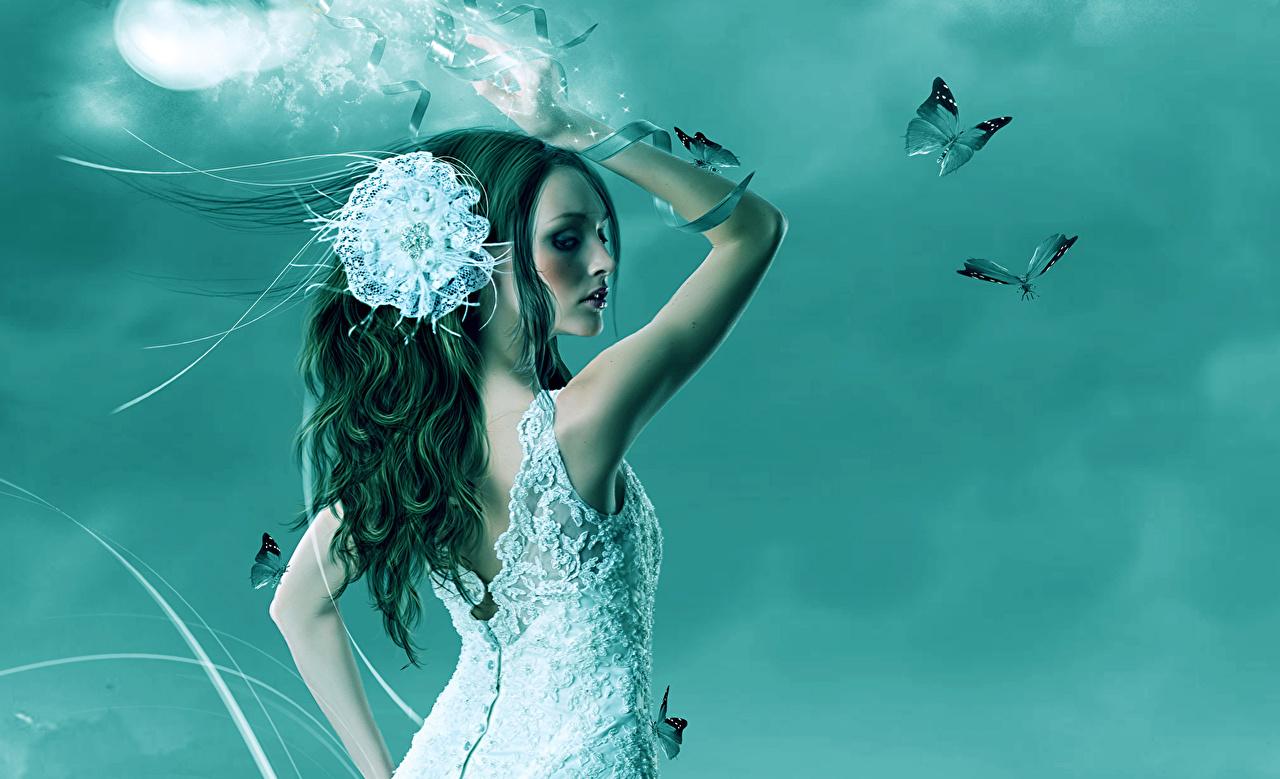 Картинка Магия Бабочки Спина Фэнтези молодые женщины Платье бабочка волшебство спины девушка Девушки Фантастика молодая женщина платья