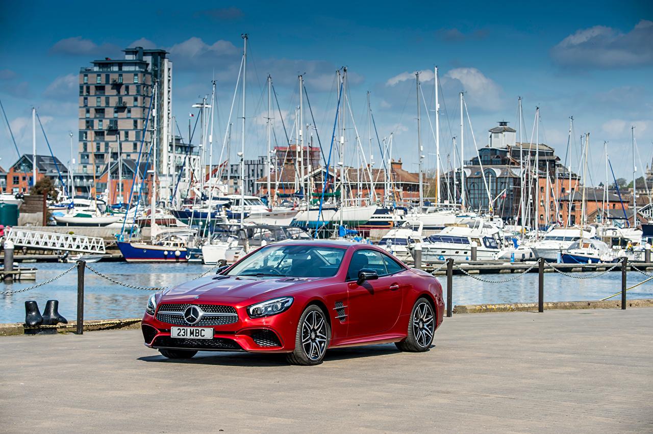 Фото Mercedes-Benz AMG SL-Class Roadster R231 Родстер красные Авто Мерседес бенц красных Красный красная Машины Автомобили