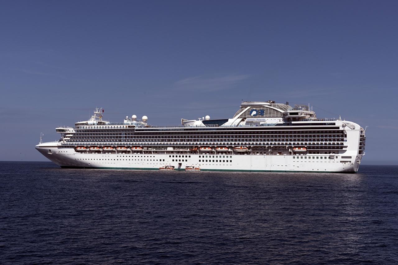 Фотография Круизный лайнер Sapphire Princess Море Корабли корабль