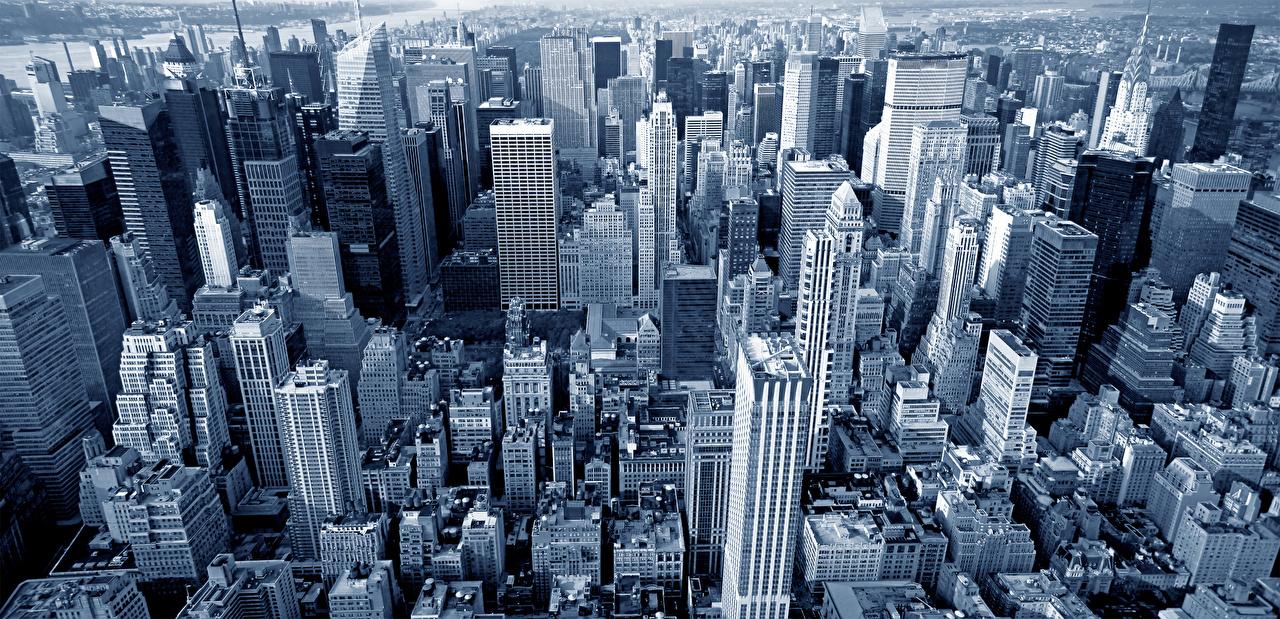 Фотография Нью-Йорк Манхэттен штаты мегаполиса Небоскребы город Здания США Мегаполис Дома Города