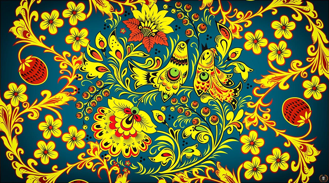 Картинки птица Текстура Русские Khokhloma цветок Птицы российские Цветы