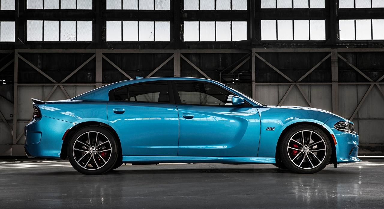 Картинка Dodge Charger, R/T Scat Pack, 2015 голубые Сбоку Металлик Автомобили Додж голубая Голубой голубых авто машины машина автомобиль