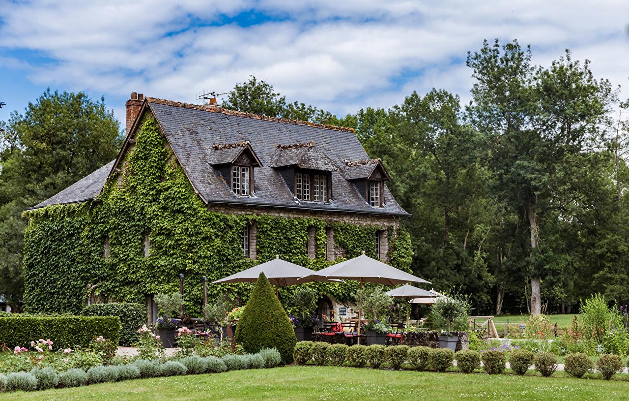 Картинки Франция Azay-le-Rideau Зонт Кусты Здания Города Ландшафтный дизайн Дома