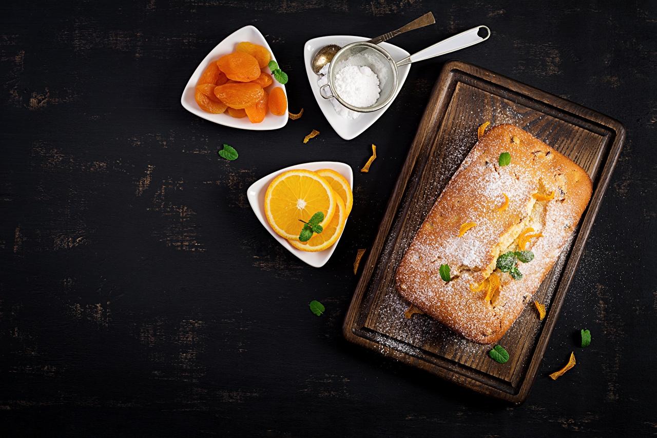 Картинки Пирог Курага Апельсин Сахарная пудра Продукты питания сушеные абрикосы Еда Пища