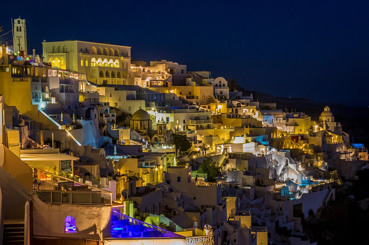 Фотография Тира Греция Ночные Города Здания Фира Санторини Ночь Дома