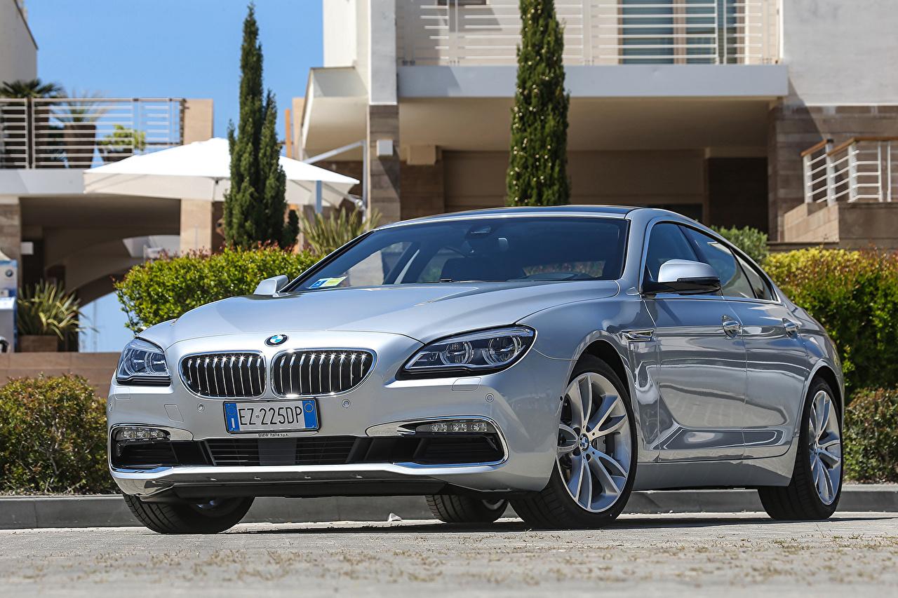 Картинки БМВ 2015 640d xDrive Gran Coupe F06 Серебристый Автомобили BMW серебряный серебряная серебристая авто машины машина автомобиль