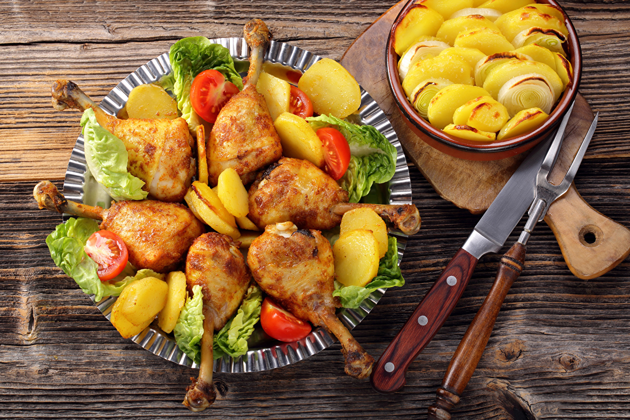 Фотография ножик картошка Курица запеченная Еда Нож Картофель Пища Продукты питания