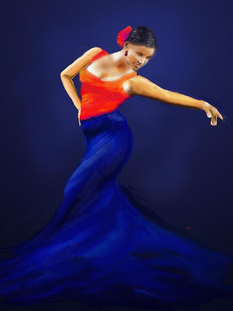 Обои Танцует Девушки Рисованные Платье Танцы