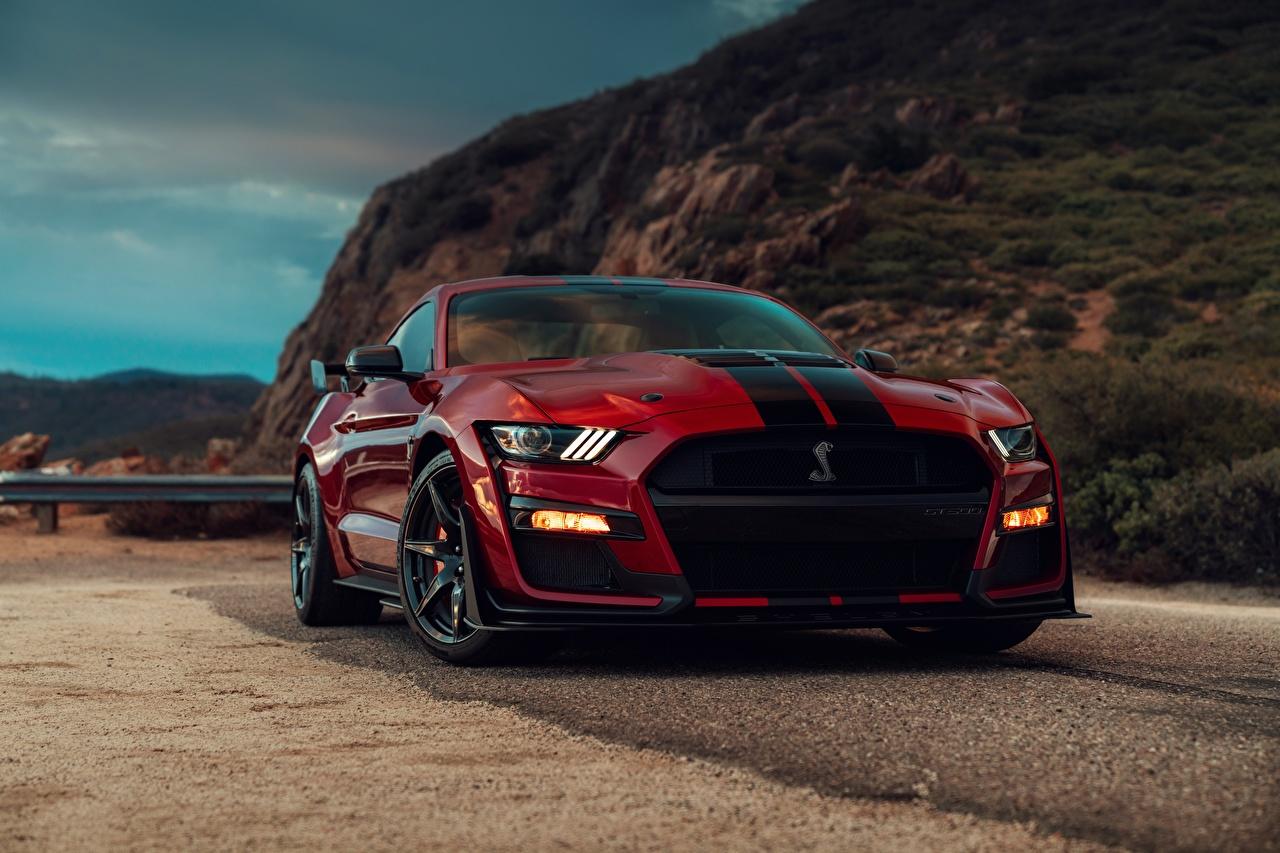 Обои для рабочего стола Ford Mustang Shelby GT500 2019 Красный Бордовый Спереди Полоски Автомобили