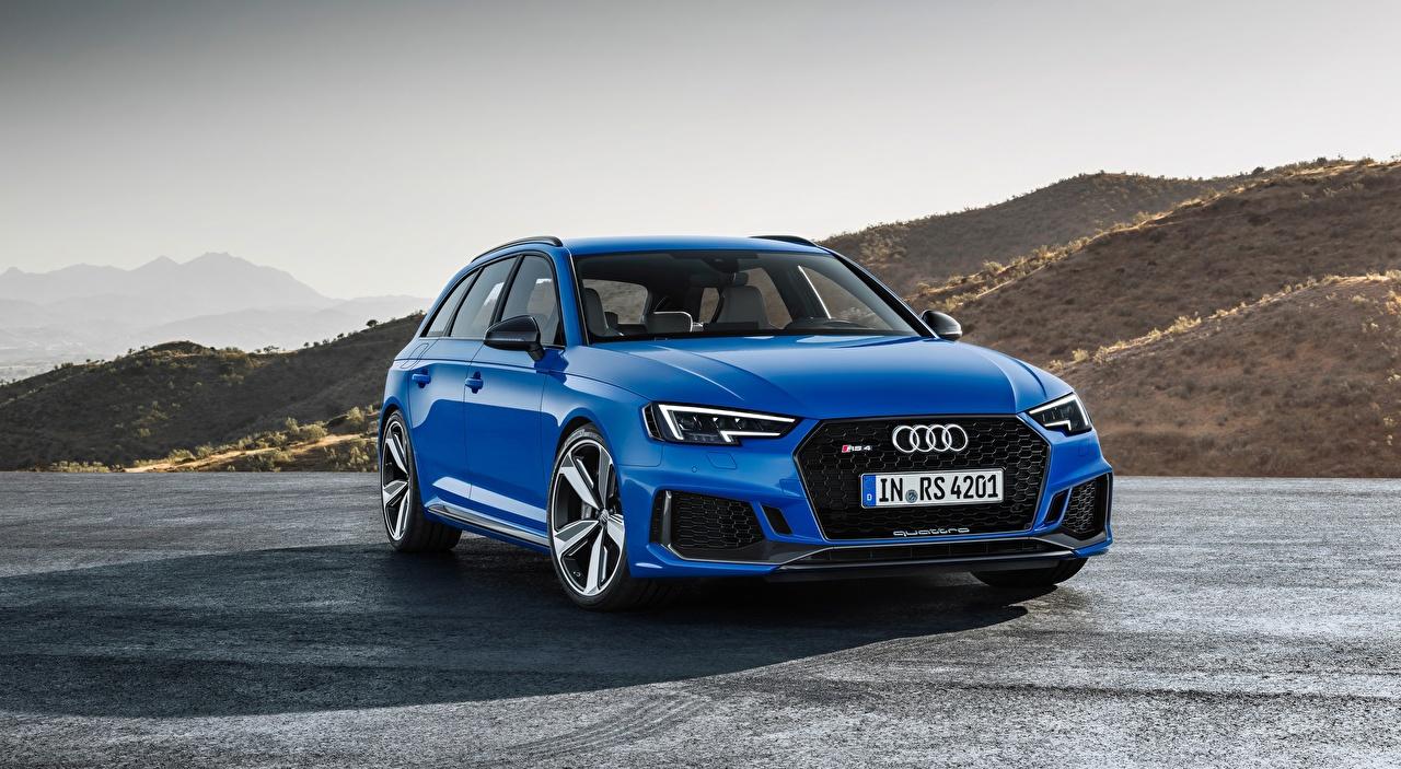 Картинка Audi Универсал RS4 Avant, 2017 синяя Спереди Автомобили Ауди Синий синие синих авто машины машина автомобиль