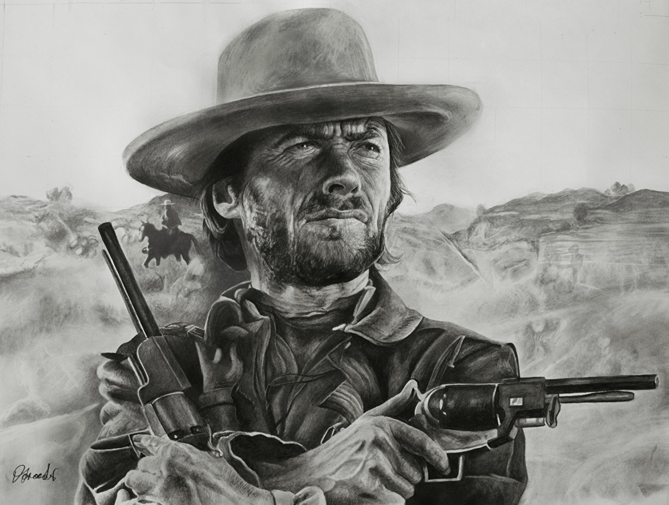 Фото Clint Eastwood пистолет револьвера Мужчины Шляпа Рисованные Знаменитости Клинт Иствуд Пистолеты Револьвер пистолетом мужчина шляпе шляпы