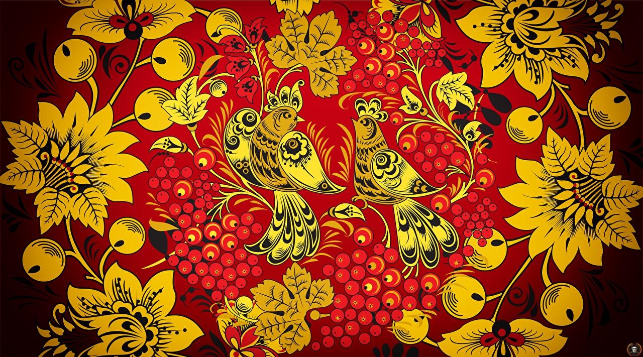 Картинки Птицы Текстура российские Khokhloma птица Русские