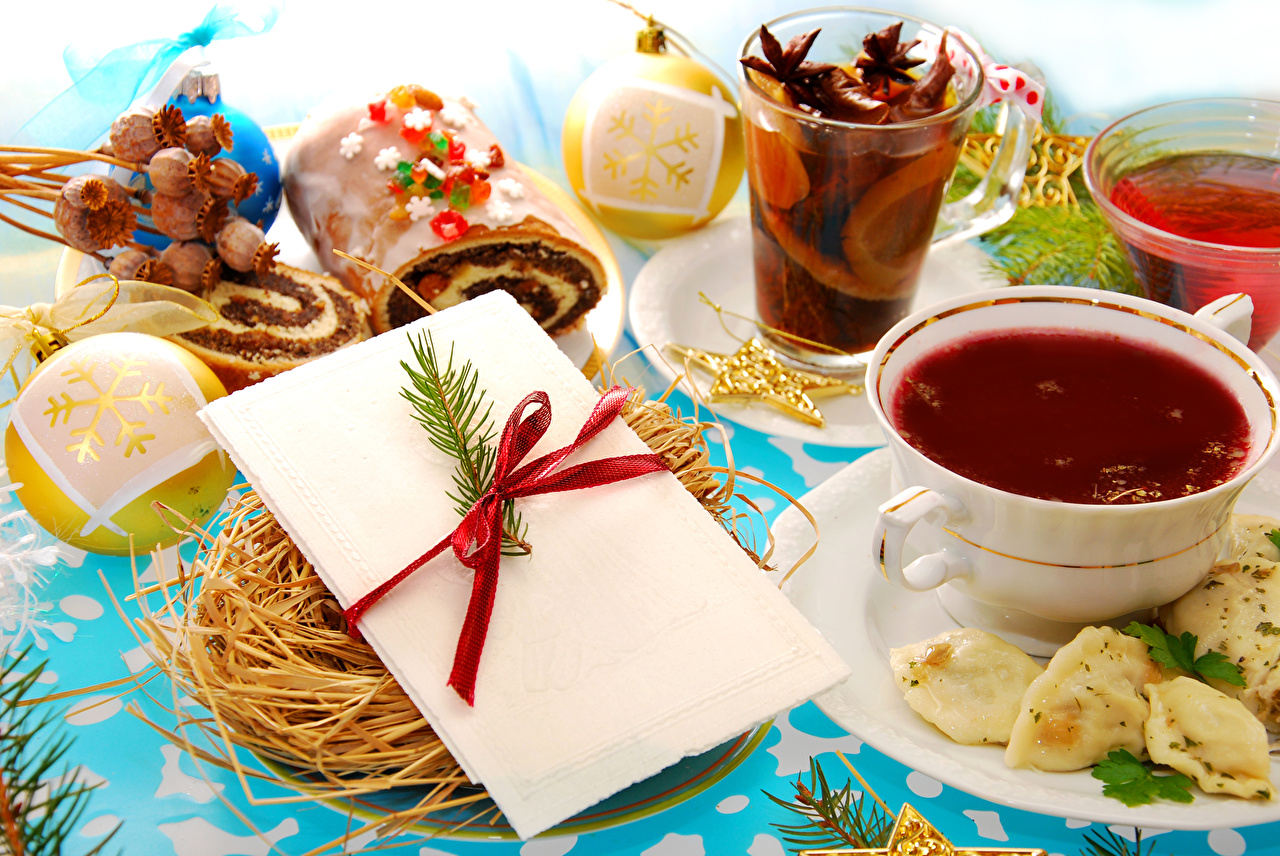 Фотография Новый год Чай Стакан Шар Чашка Продукты питания Выпечка Рождество стакана стакане Еда Пища чашке Шарики