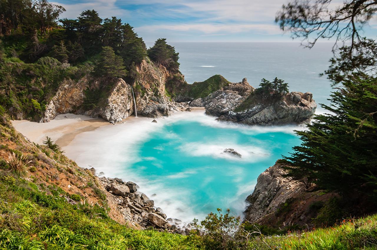 Картинка Калифорния америка Природа бухты берег калифорнии США штаты Бухта Побережье