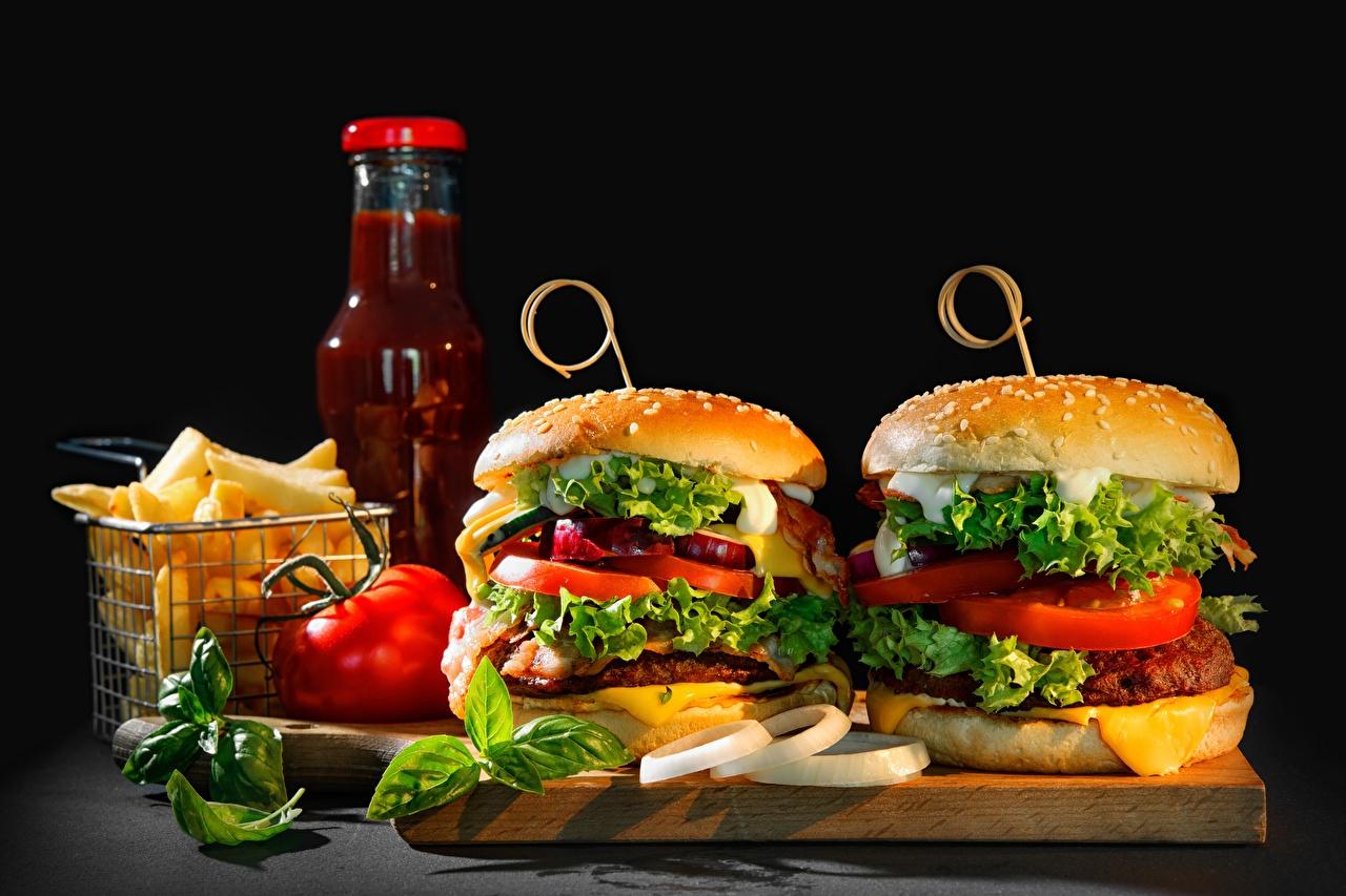 Фотографии Гамбургер кетчупа Быстрое питание Овощи Продукты питания Кетчуп Фастфуд кетчупом Еда Пища