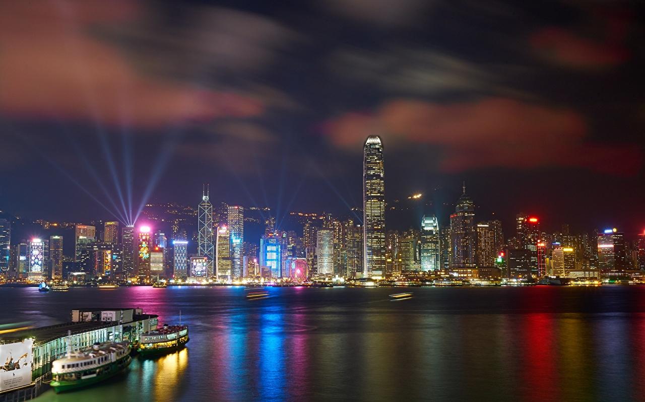 Фото Гонконг Мегаполис Ночь Небоскребы Города Ночные