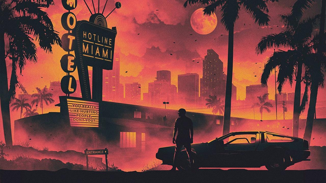 Фотография Делориан Синтвейв Мужчины DMC-12 Hotline Miami Гостиница Луна Пальмы Машины Города DeLorean Ретровейв Отель Авто Автомобили