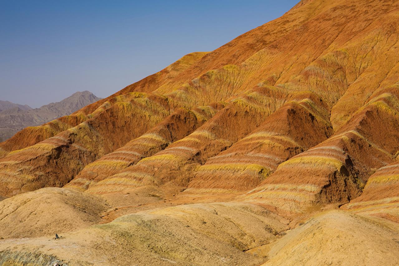 Фото Китай Zhangye National Geopark Природа Холмы Парки