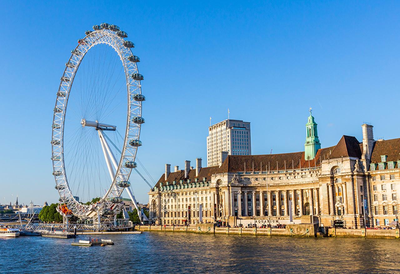 Картинки Лондон Англия колесом обозрения Города лондоне Колесо обозрения город