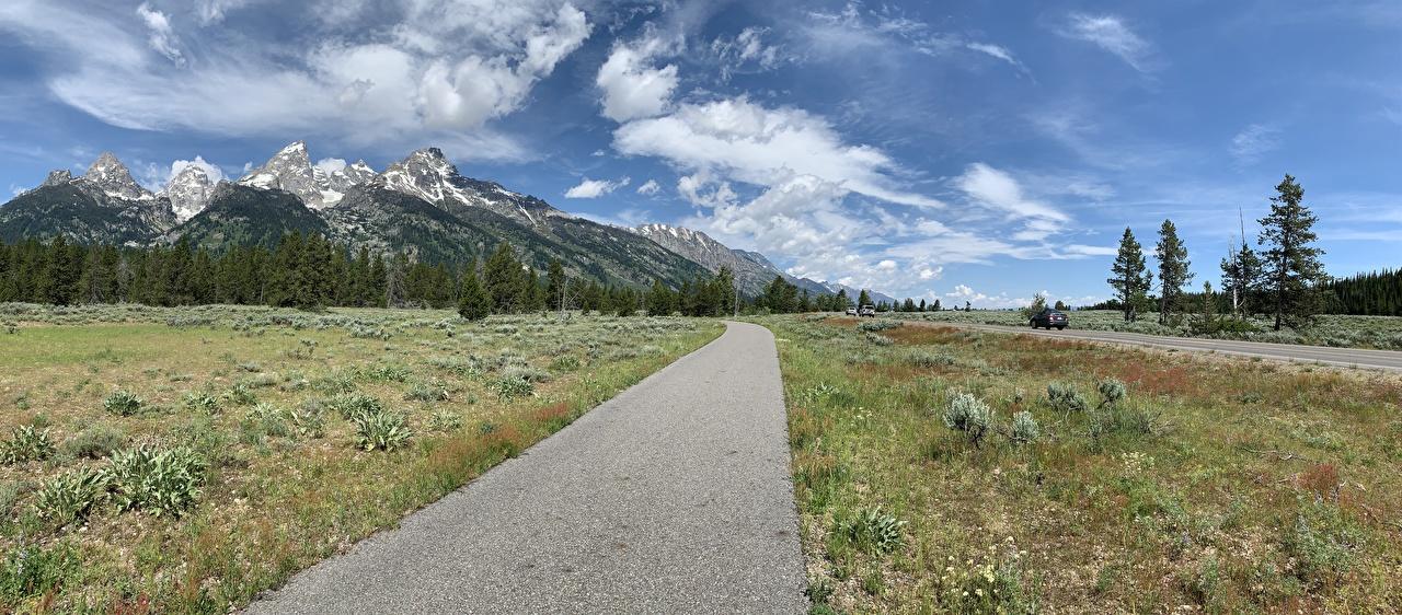 Фотографии США Grand Teton National Park, Wyoming Горы Природа Дороги Трава штаты америка гора траве