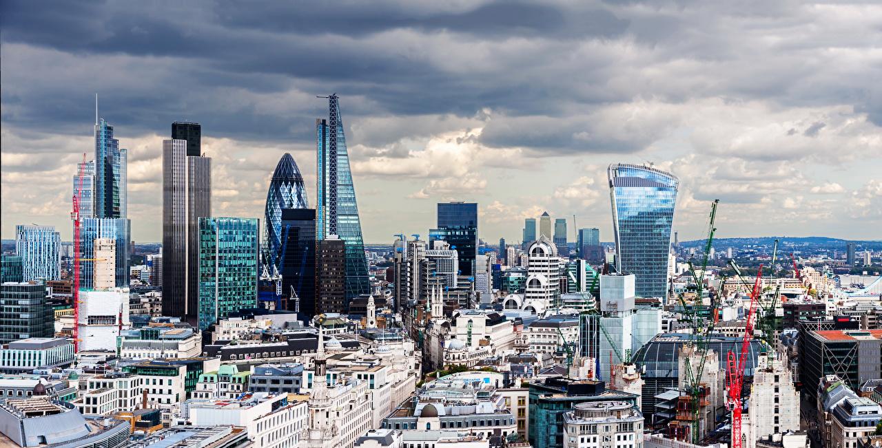 Фото Лондон Великобритания Мегаполис Небоскребы Города Здания Дома