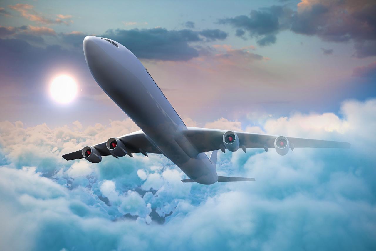 Фотографии Самолеты Пассажирские Самолеты Небо Полет Облака Авиация летящий