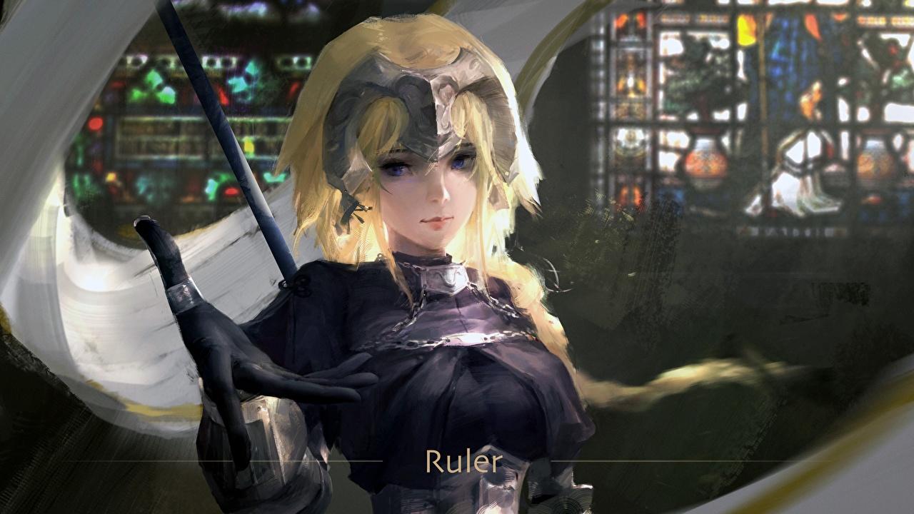 Обои для рабочего стола Блондинка Перчатки Fate/Grand Order, Jeanne d'Arc, Ruler Фэнтези молодая женщина Игры рука блондинок блондинки перчатках девушка Девушки Фантастика молодые женщины компьютерная игра Руки