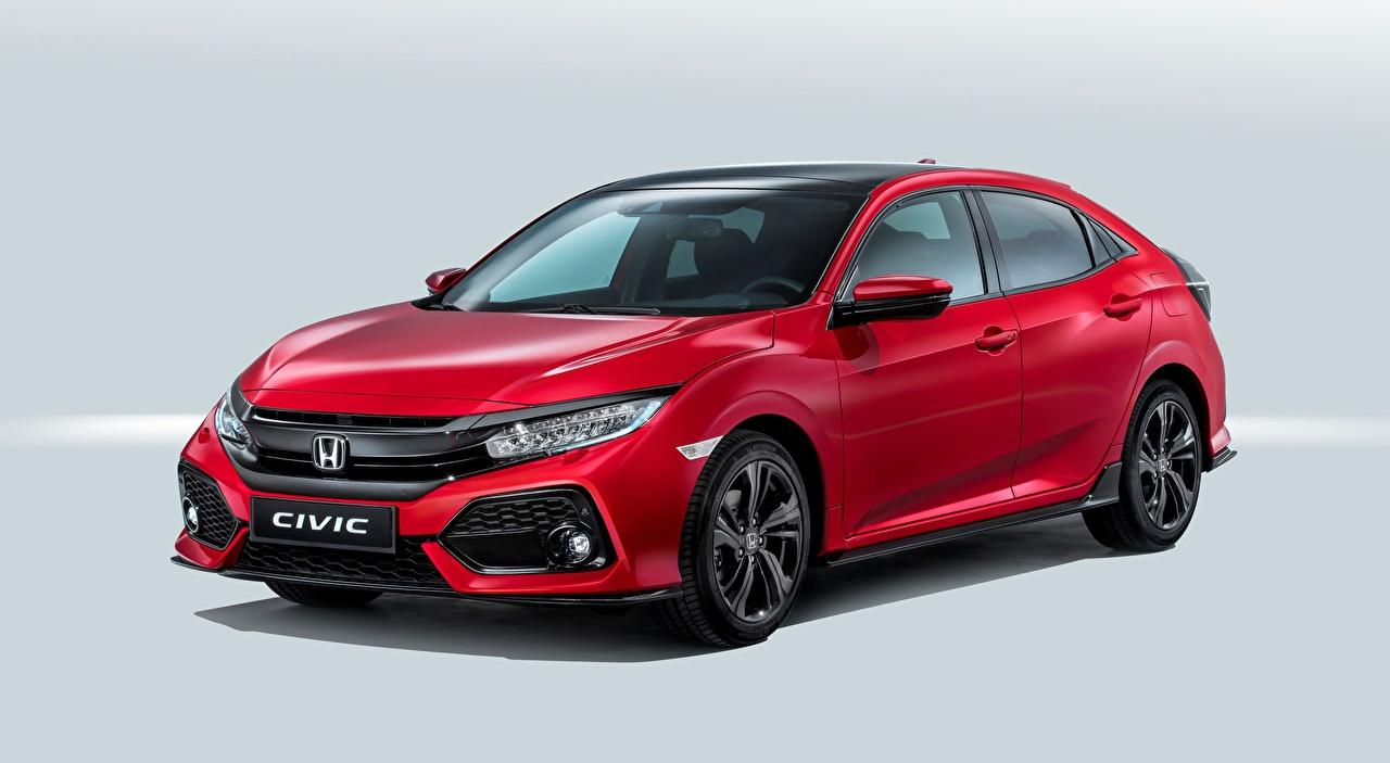 Фотографии Honda Civic, Hatchback, 2016 красная Автомобили Хонда Красный красные красных авто машины машина автомобиль