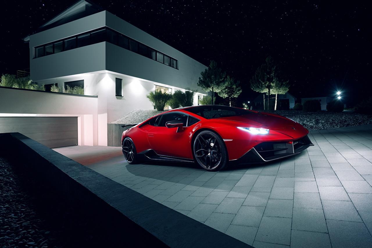 Фото Ламборгини Novitec Torado Huracan красных Автомобили Lamborghini Красный красные красная авто машина машины автомобиль