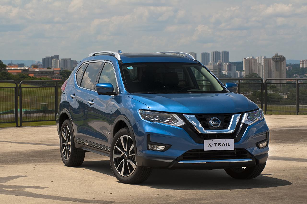 Обои для рабочего стола Nissan 2019 X-Trail Hybrid Latam Гибридный автомобиль голубая авто Ниссан голубых голубые Голубой машина машины автомобиль Автомобили