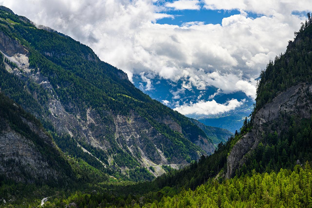 Фотографии Швейцария Valais Горы Природа лес облачно гора Леса Облака облако