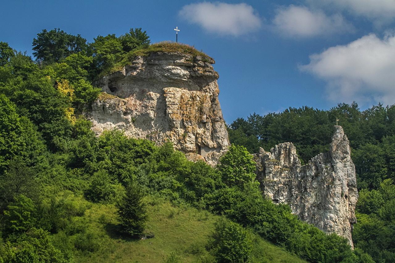Обои для рабочего стола Бавария Германия Утес Природа Пейзаж Скала скале скалы