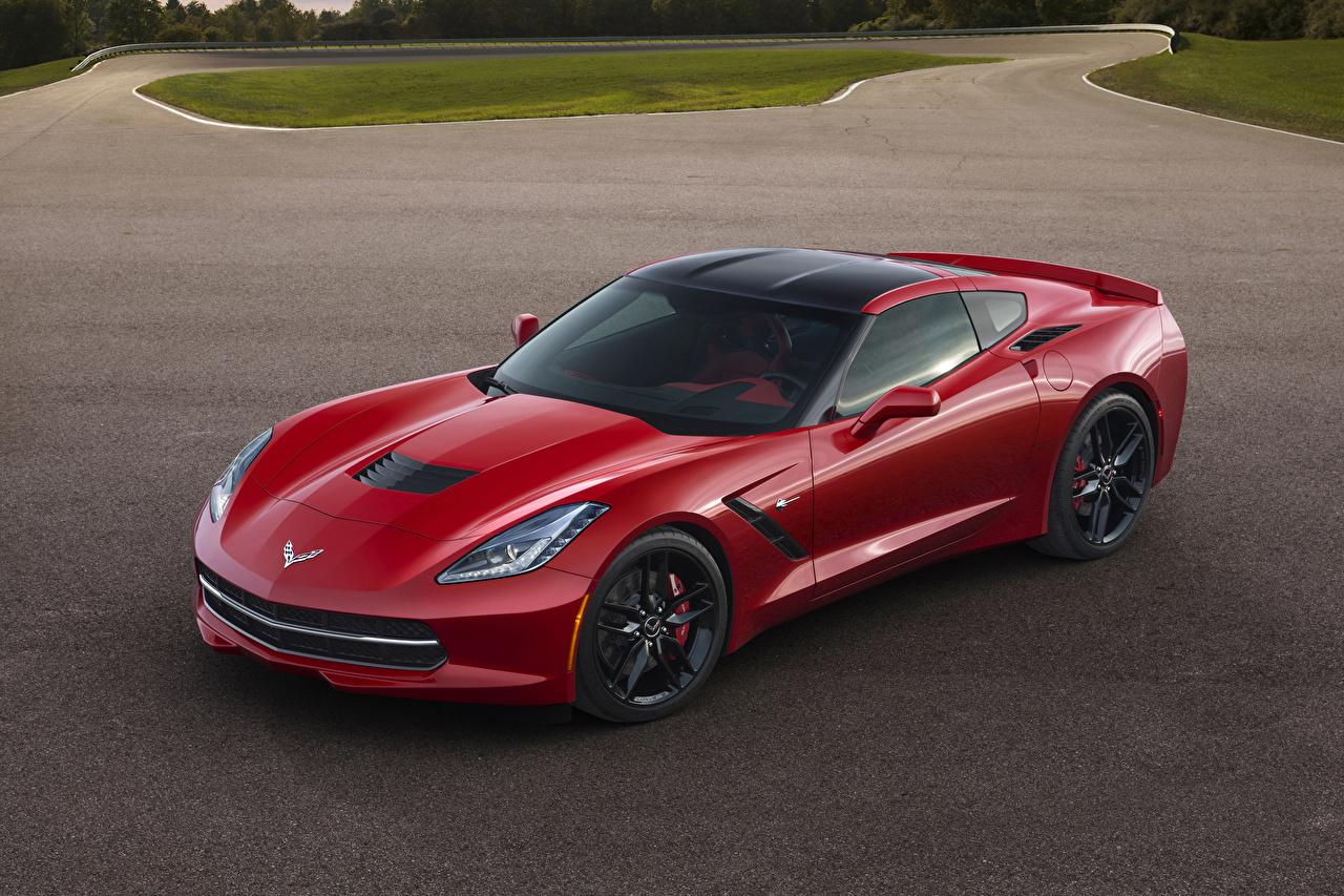 Фотографии Chevrolet 2014 Corvette Stingray Красный Машины Шевроле Авто Автомобили