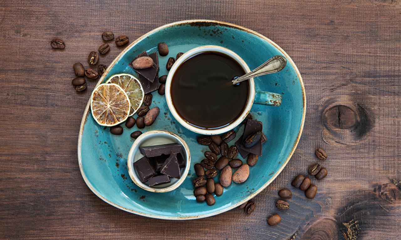 Картинки Шоколад Кофе Зерна Лимоны Пища Чашка Орехи Доски зерно Еда чашке Продукты питания