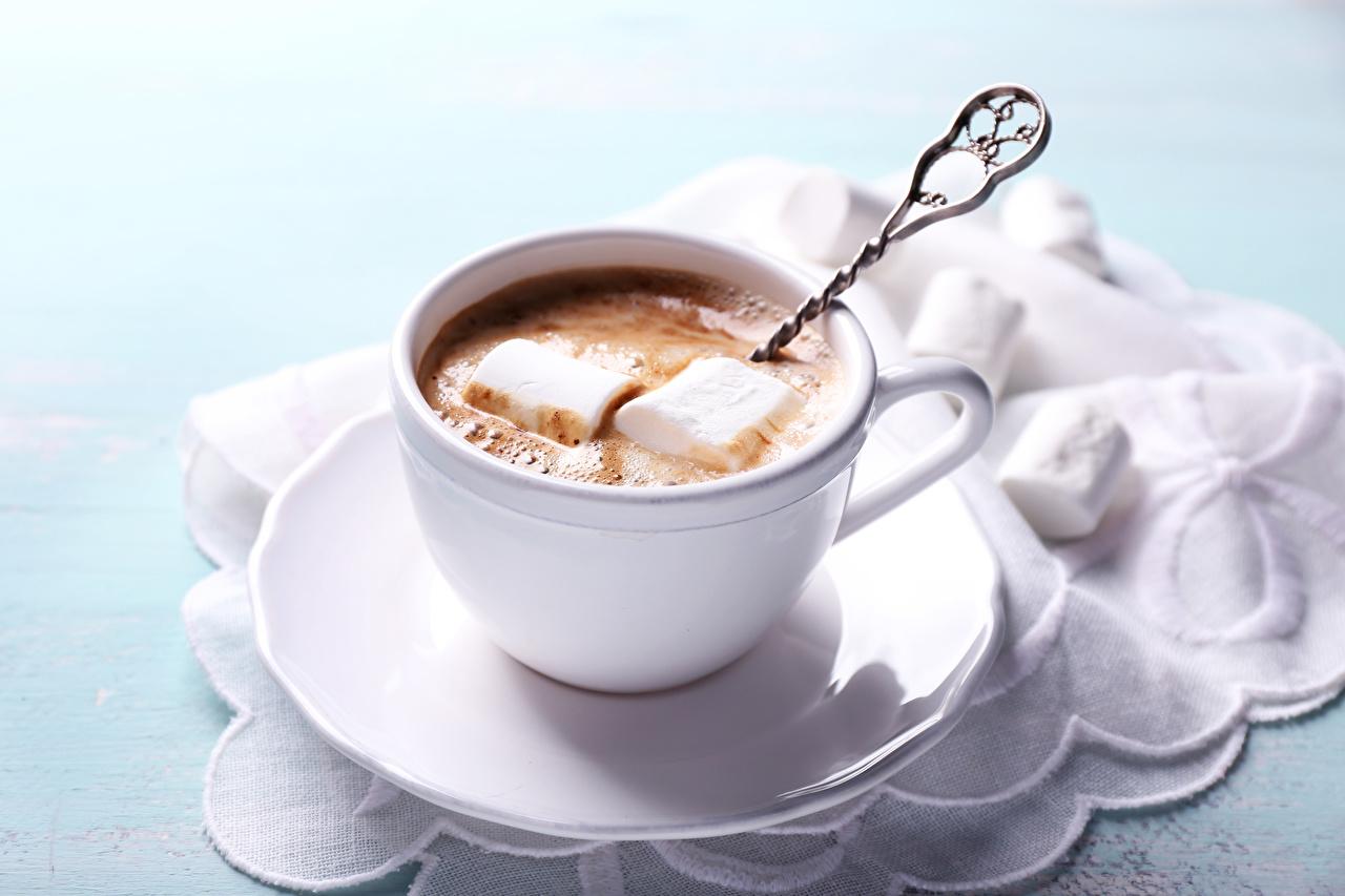 Обои для рабочего стола зефирки Горячий шоколад Еда Чашка Маршмэллоу Какао напиток Пища чашке Продукты питания