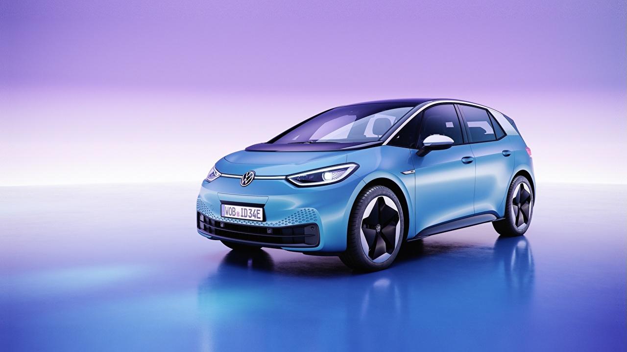 Фото Фольксваген ID.3, all-electric hatchback Голубой машина Цветной фон Volkswagen голубая голубые голубых авто машины Автомобили автомобиль