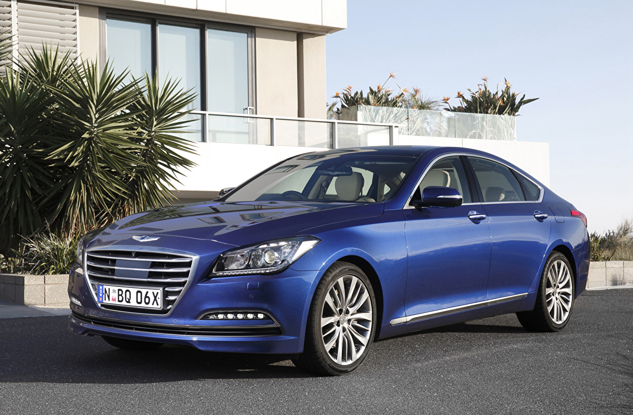 Фотография Хендай Genesis синих Автомобили Hyundai Синий синие синяя авто машина машины автомобиль