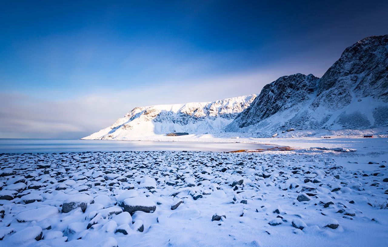 Фото Лофотенские острова Норвегия Unnstad гора Природа снега Горы Снег снегу снеге
