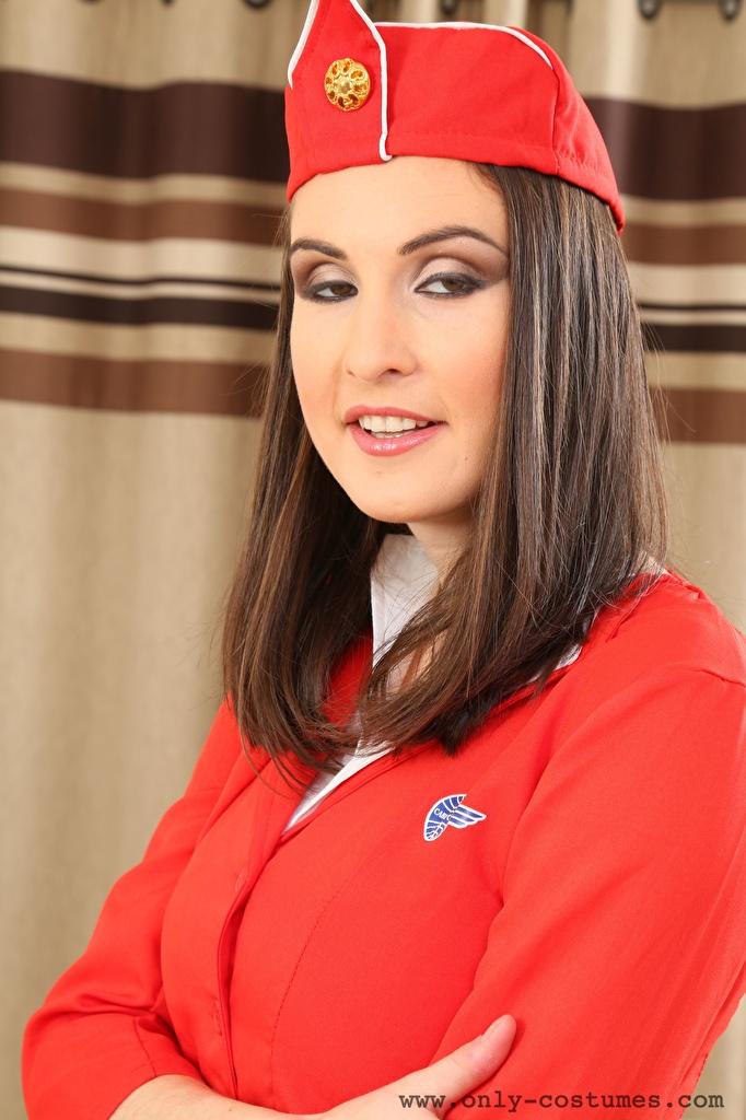 Фотографии Petra Vachouskova Шатенка стюардесс Волосы девушка смотрит  для мобильного телефона шатенки Стюардессы стюардесса волос Девушки молодые женщины молодая женщина Взгляд смотрят