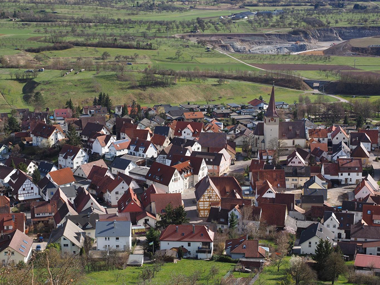 Картинка Германия Деревня Kayh, Baden-Württemberg Сверху Дома город село поселок Здания Города
